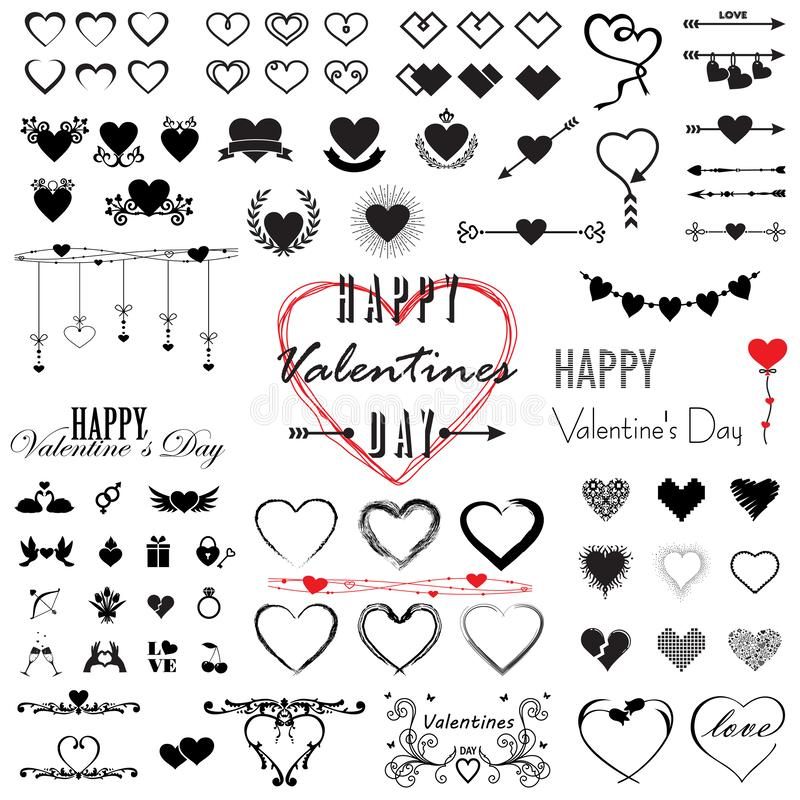 Mega uppsättning för valentin dag, hjärtor och inskriftsamlingssymboler, förälskelsesymbol som isoleras på vitt, vektorillustrati stock illustrationer