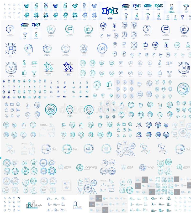 Mega uppsättning för vektor av linjära stämpellogoer stock illustrationer