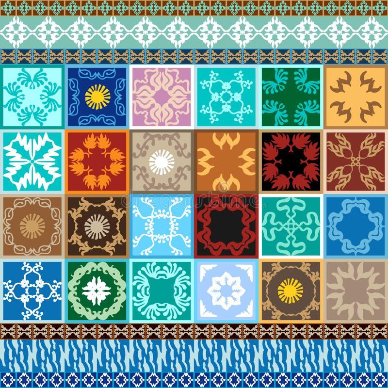 Mega uppsättning Glasade keramiska tegelplattor med färgrika gränser royaltyfri illustrationer