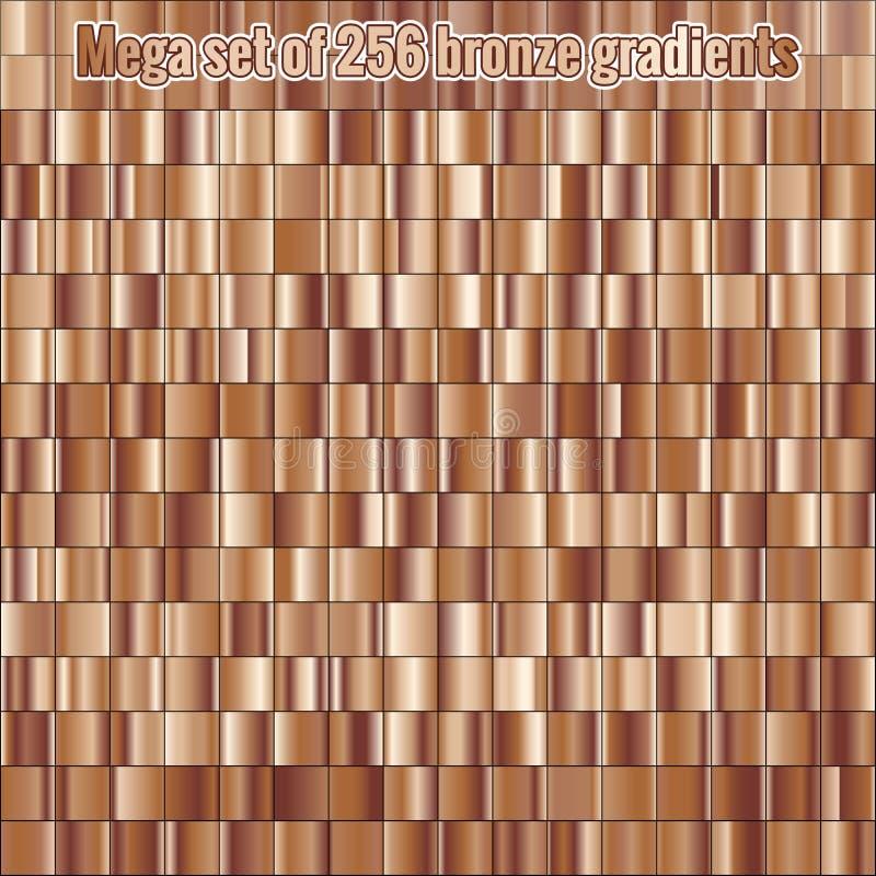 Mega ustaleni składa się kolekcji 256 brązu foliowi gradienty struktura metalicznej błyszczący tło 10 eps ilustracja wektor