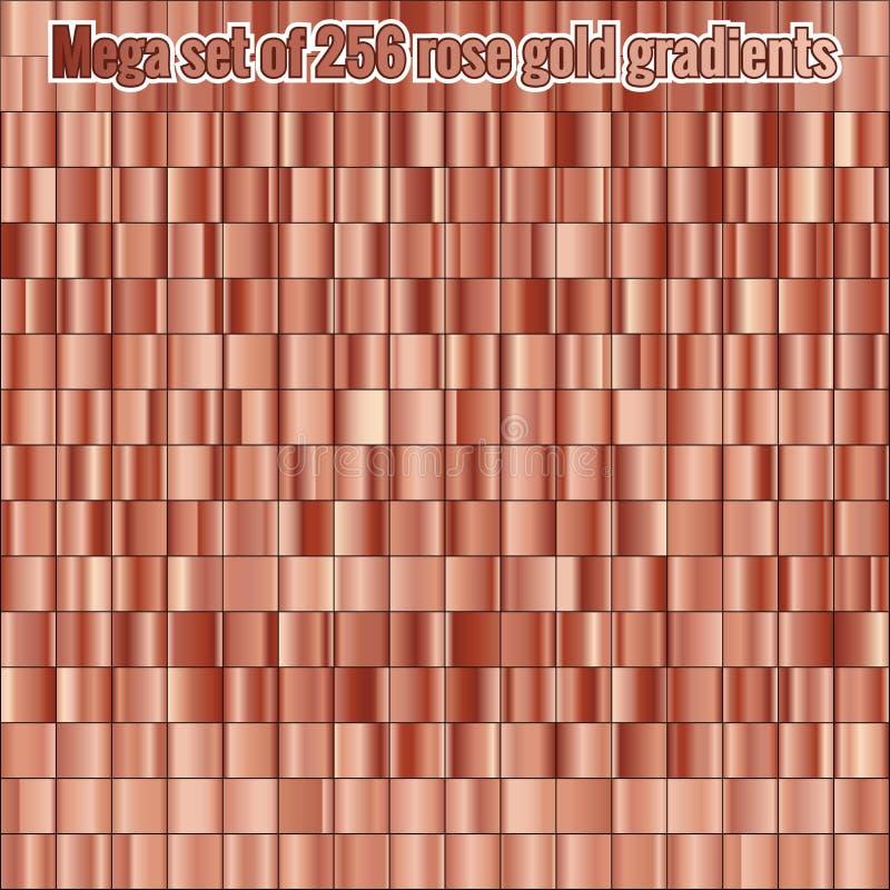 Mega ustaleni składa się kolekcji 256 róży złocistej folii gradienty struktura metalicznej błyszczący tło 10 eps ilustracja wektor