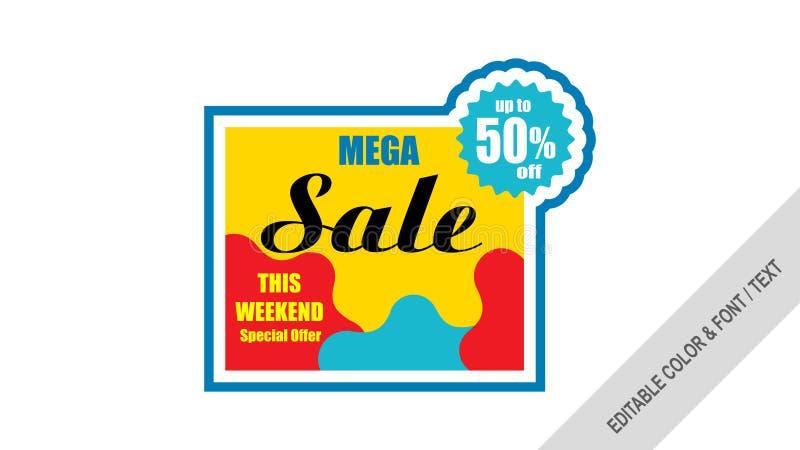 Mega- Verkauf des Verkaufsfahnenschablonen-Designs stock abbildung