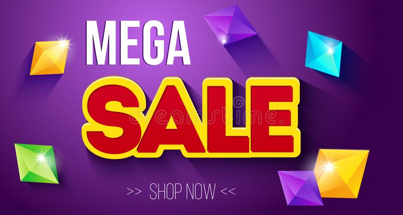Mega- Verkaufsfahne Moderne Netzplakatdesigne mit Edelsteinen stock abbildung