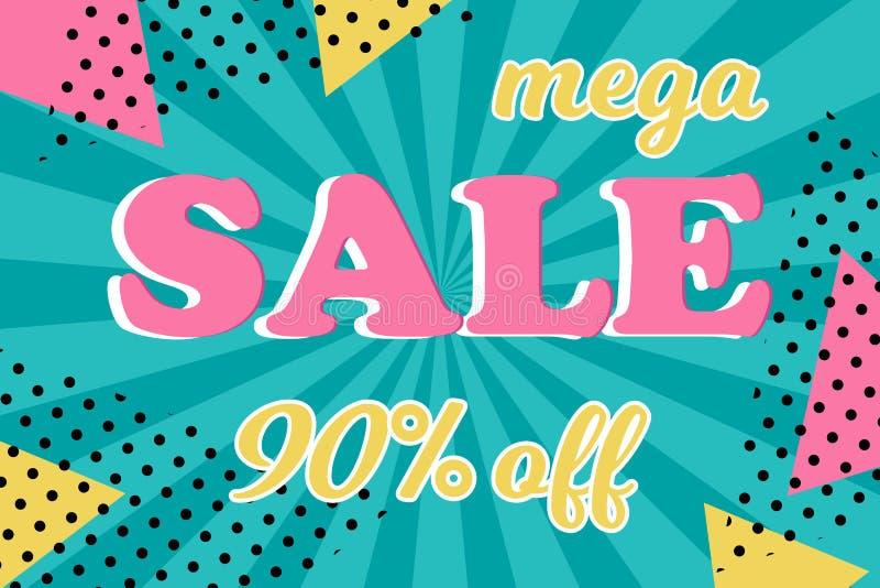 Mega- Verkaufskarte auf Hintergrund im Retrostil lizenzfreie abbildung