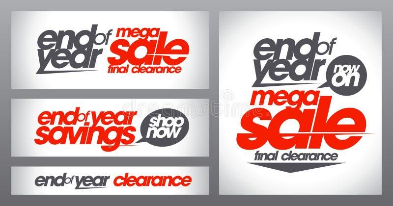 Mega- Verkaufspostersammlung, Jahresendeeinsparungensfahnen stellte, abschließende Freigabe ein lizenzfreie abbildung