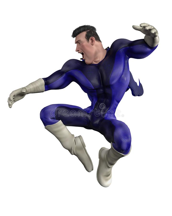 Mega władza super bohatera kreskówka w białym tle ilustracji