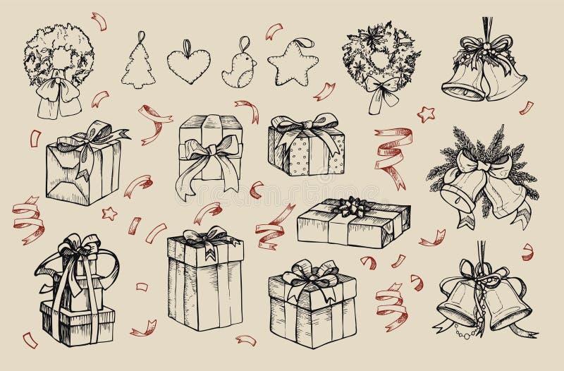 Mega- Weinlesesatz Hand gezeichnete Vektorillustrationen - frohe Weihnachten stock abbildung