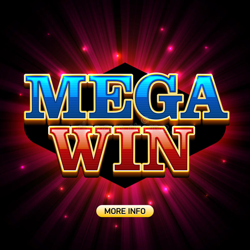 Mega Win casino banner. Mega Win banner for lottery or casino games such as poker, roulette, slot machines or card games vector illustration