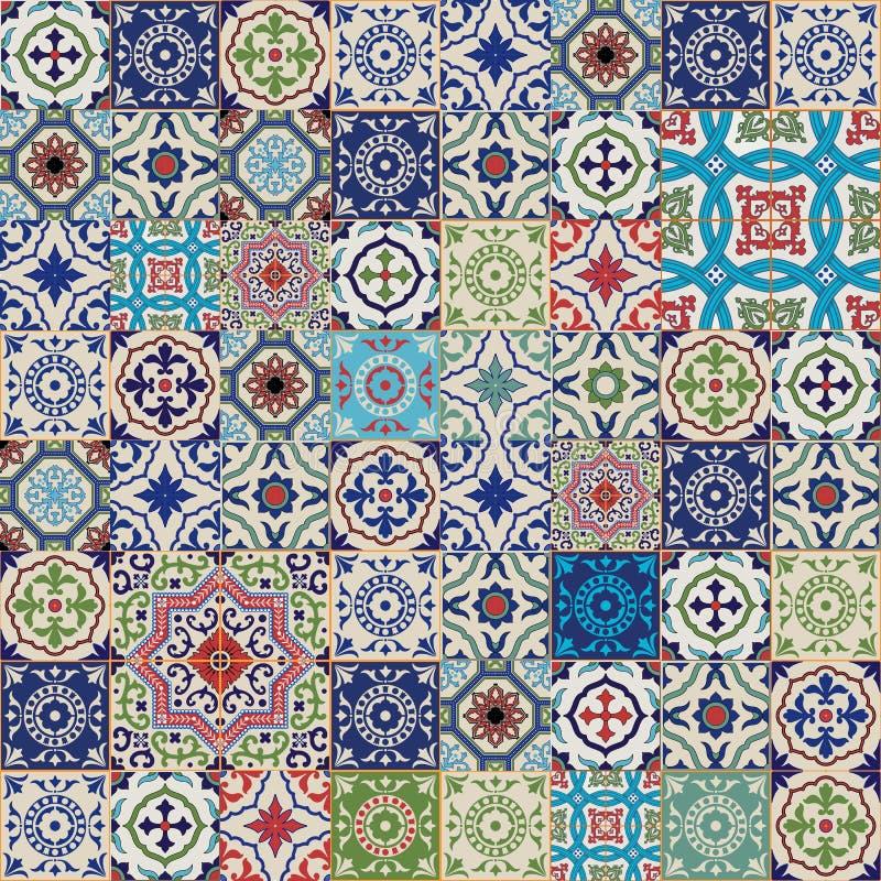 Mega Wspaniały bezszwowy patchworku wzór od kolorowego marokańczyka, portugalczyk płytki, Azulejo, ornamenty