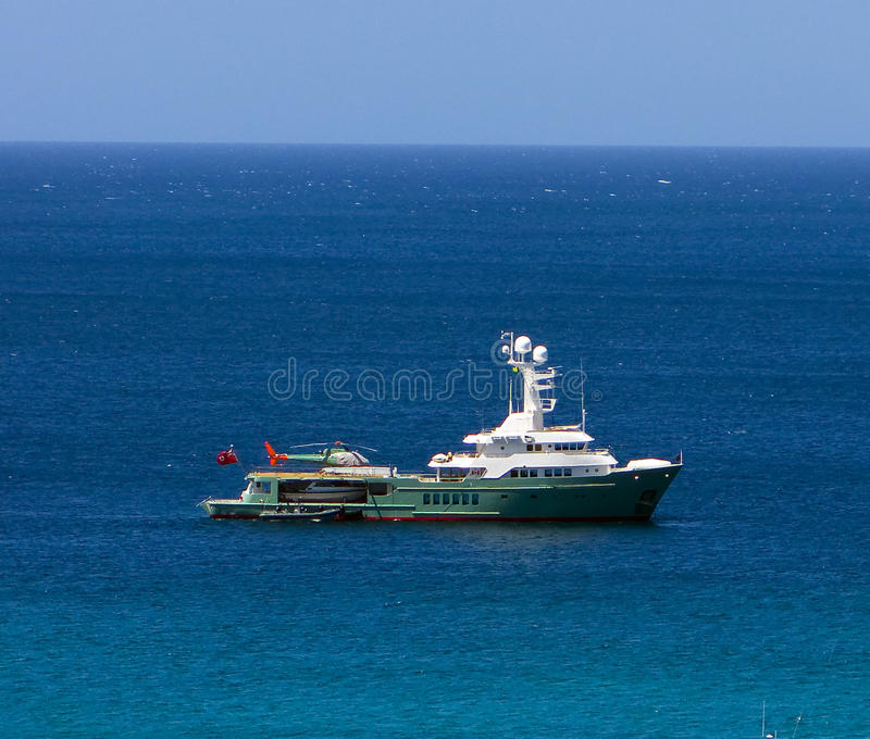 A mega-yacht in the grenadines stock photos