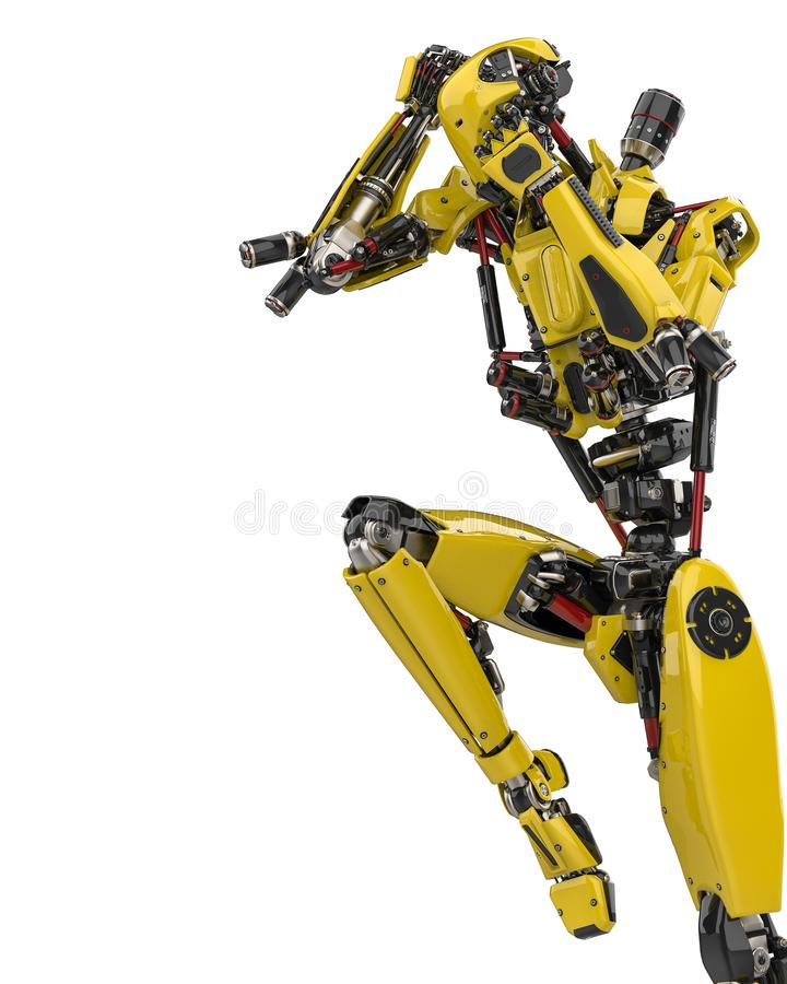 Mega yellow robot super drone fighter pose 2 in a white background. The mega yellow robot super drone in a white background, will put some fun at all yours hi royalty free illustration