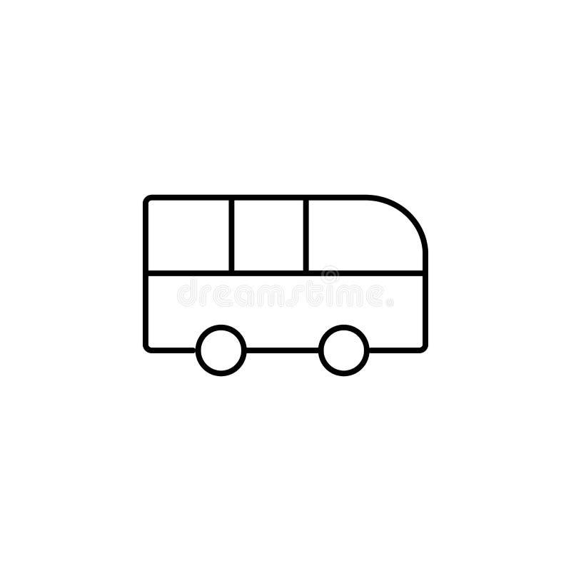megabus Elemento del icono de la educación para los apps móviles del concepto y del web La línea fina autobús se puede utilizar p ilustración del vector