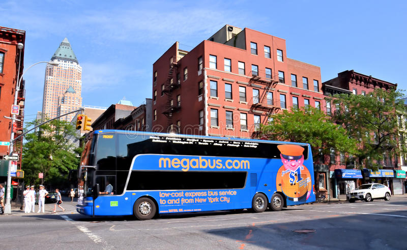 Megabus en New York City fotografía de archivo