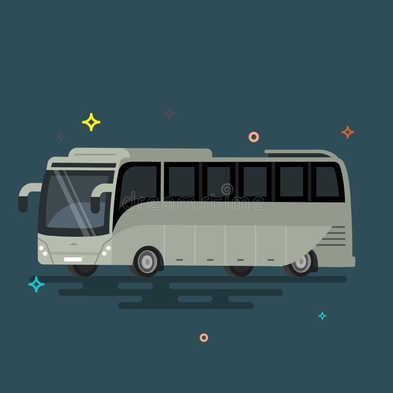 megabus Transporte público del diseño plano fresco internacional ilustración del vector