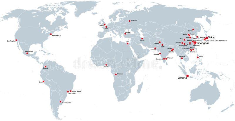 Megacities świat, polityczna mapa ilustracji