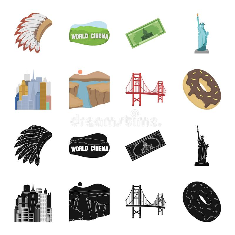 A megacity, a grand canyon, a golden gate bridge,donut with chocolate. The US country set collection icons in black. Cartoon style vector symbol stock royalty free illustration