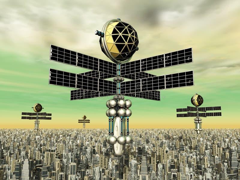 Megacity i Astronautyczne sondy ilustracja wektor