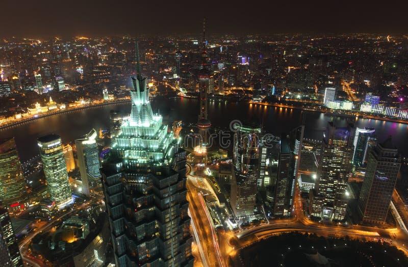 megacitynatt shanghai royaltyfria bilder