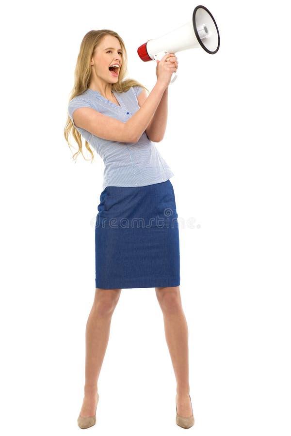megafon atrakcyjna kobieta obrazy stock