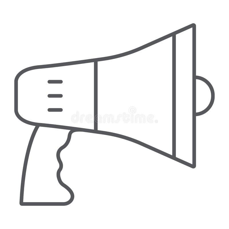 Megafon cienka kreskowa ikona, zawiadomienie i głośnik, megafonu znak, wektorowe grafika, liniowy wzór na bielu ilustracja wektor