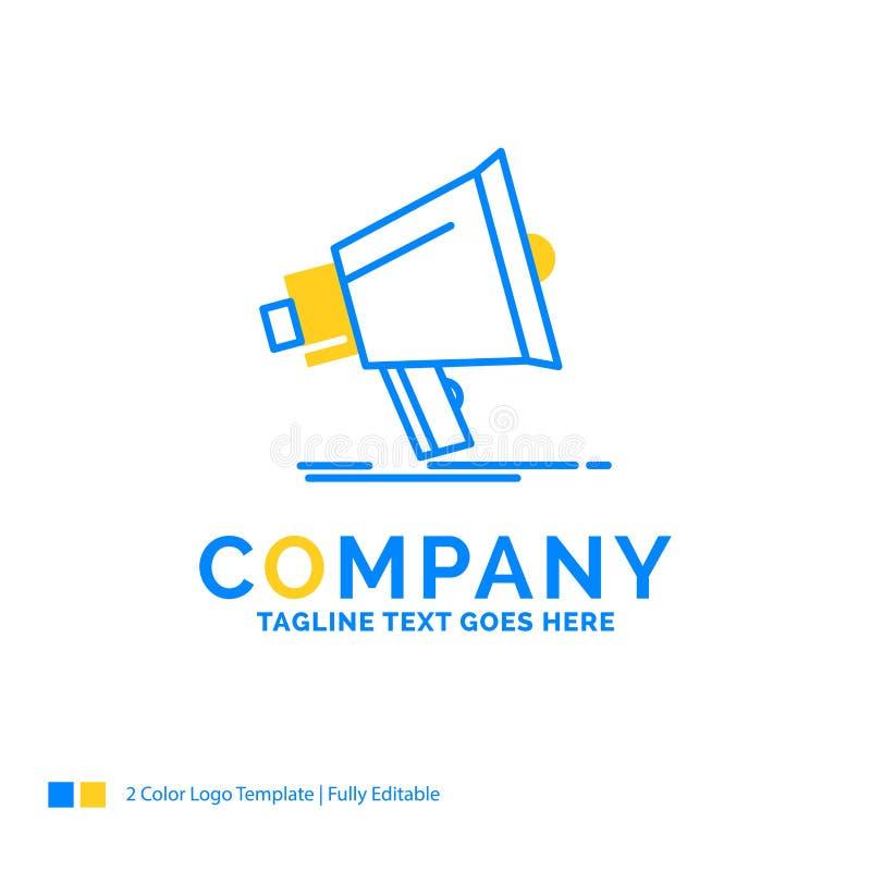 Megafon digitalt som marknadsför, massmedia, megafon blåa gula Busin royaltyfri illustrationer