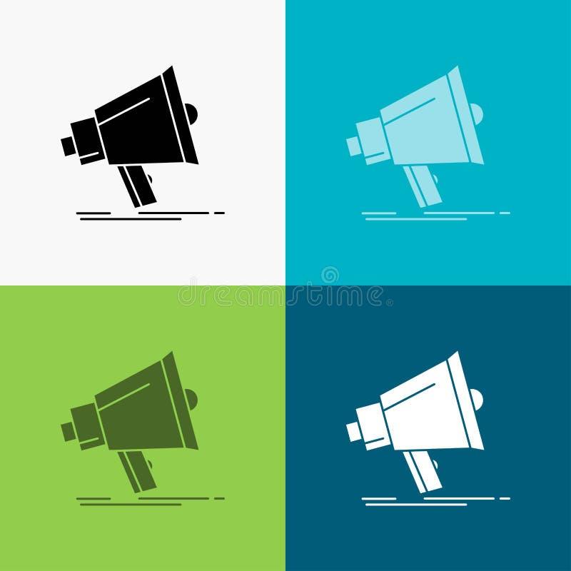 Megafon digitalt som marknadsf?r, massmedia, megafonsymbol ?ver olik bakgrund sk?rastildesign som planl?ggs f?r reng?ringsduk och royaltyfri illustrationer