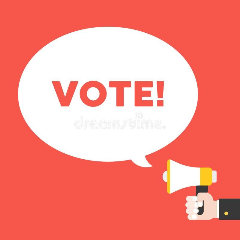 Megafon för affärshandinnehav och att rösta alfabet i anförandebubb stock illustrationer