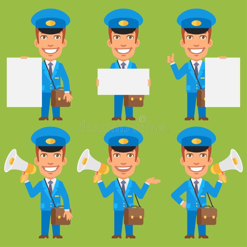 Megafon för brevbärareinnehavpapper stock illustrationer