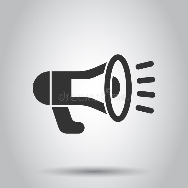 Megafon głośnikowa ikona w mieszkanie stylu Megafonu audio zawiadomienia wektorowa ilustracja na białym tle Megafonu transmitowan royalty ilustracja