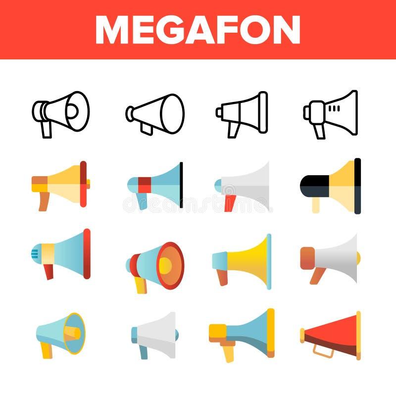 Megafon, megafon, głośnik Wektorowe Liniowe ikony Ustawiać ilustracja wektor