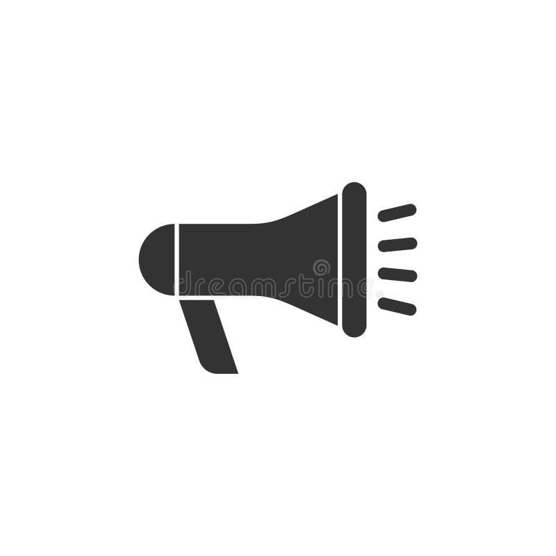 Megafon głośnikowa ikona w mieszkanie stylu Megafonu audio announcemen royalty ilustracja