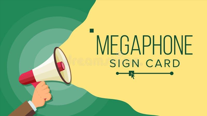 Megafon i mänsklig handvektor Valsymbol bullhorn Baner för affären, befordran Plan tecknad filmillustration stock illustrationer