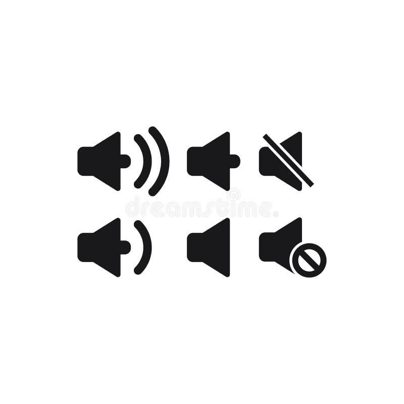 Megafon ikony rozsądny głośnikowy czarny odosobniony set ilustracja wektor