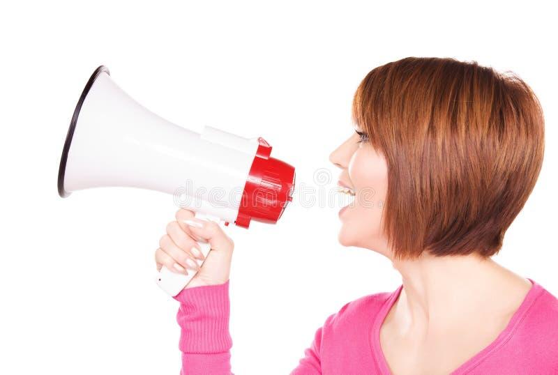 megafon kobieta fotografia stock