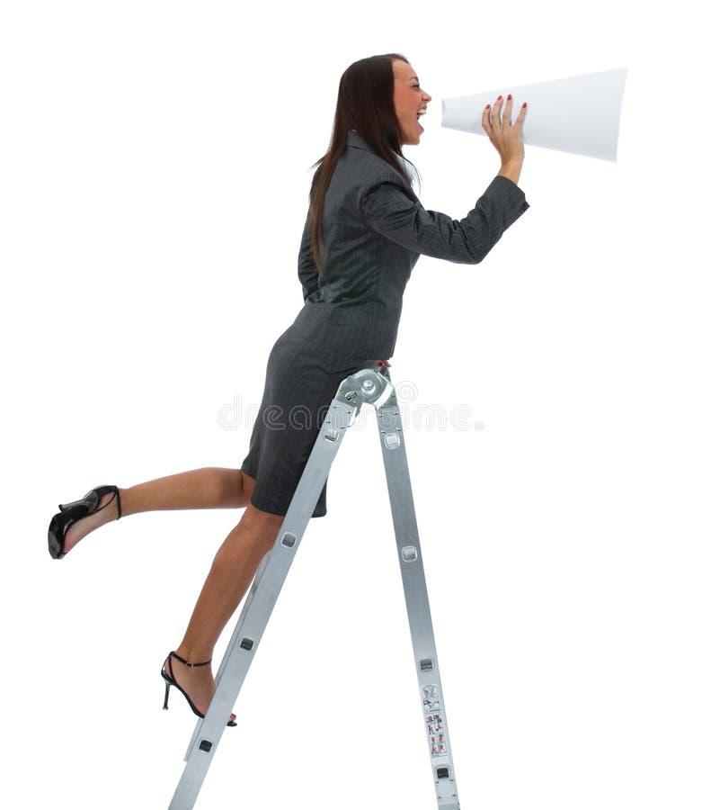 megafon kobieta jęczy zdjęcia stock