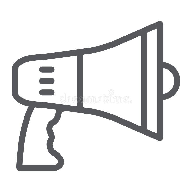 Megafon kreskowa ikona, zawiadomienie i głośnik, megafonu znak, wektorowe grafika, liniowy wzór na bielu royalty ilustracja
