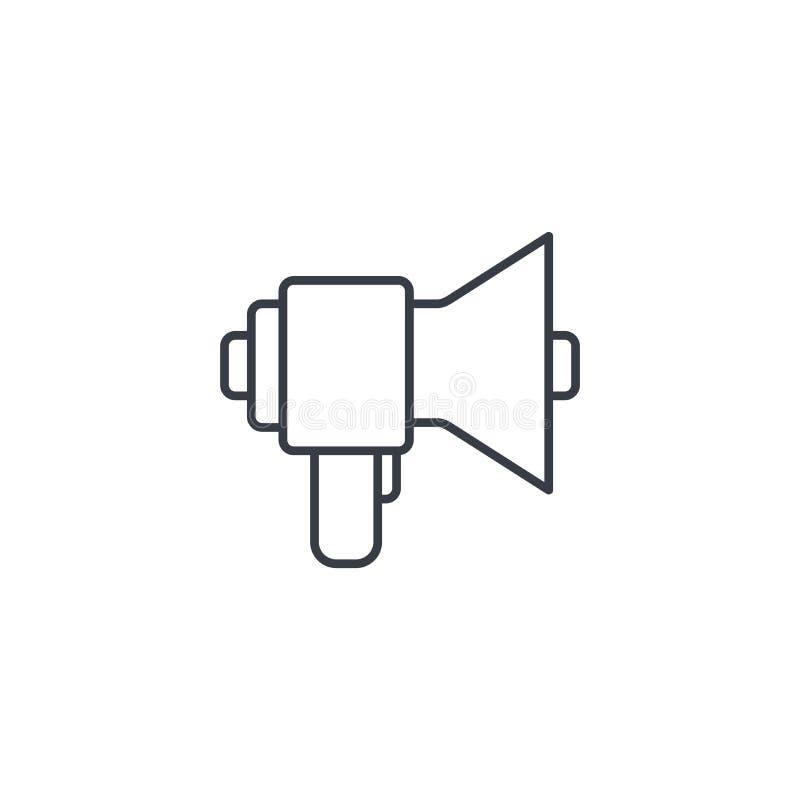 Megafon, mówca, transmisja, części cienka kreskowa ikona Liniowy wektorowy symbol ilustracji