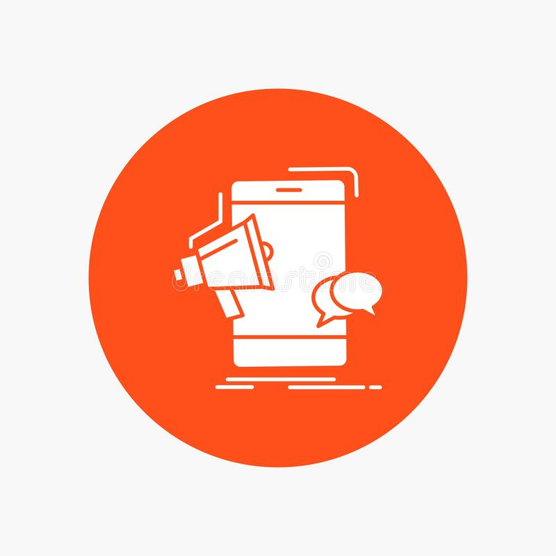 megafon, marketing, wisząca ozdoba, megafon, promocyjna Biała glif ikona w okręgu Wektorowa guzik ilustracja ilustracji