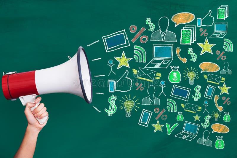 Megafon med Digital marknadsföringsbegrepp royaltyfri bild