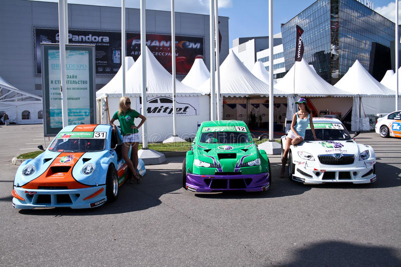Megafon mitjet race auto. MOSCOW - AUGUST 25: Megafon mitjet race auto at the international exhibition of the auto and components industry, Interauto on August stock photo