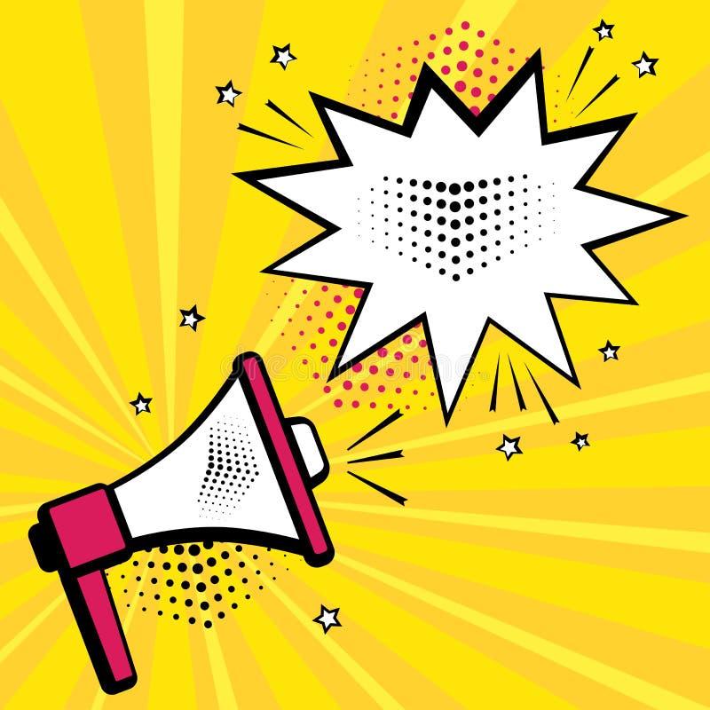 Megafon- och anförandebubbla på gul bakgrund i stil för popkonst vektor vektor illustrationer