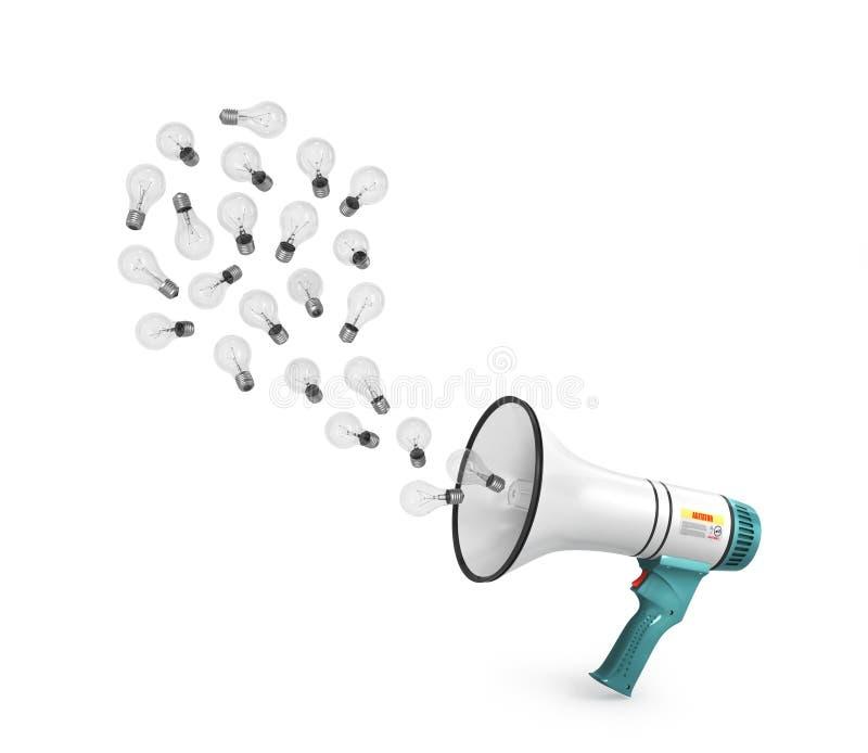 Megafon Pojęcie inspiracja, pomysły i advertisin, royalty ilustracja