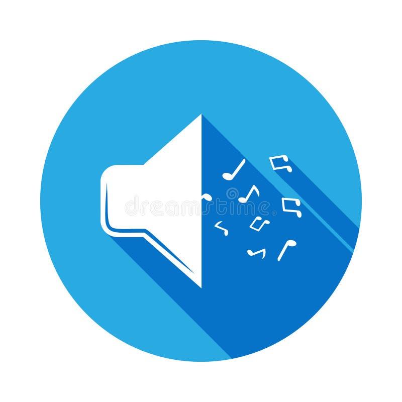 megafon z notatki ikoną z długim cieniem Element muzyczna ilustracja Premii ilości graficznego projekta znak podpisz symboli ilustracji