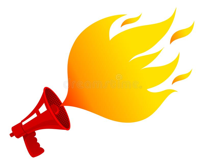 Megafon z ogieniem ilustracji
