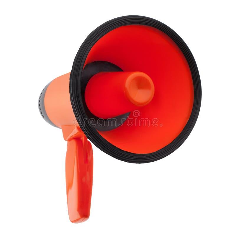Megafone alaranjado no fundo branco isolado perto acima, no projeto do altifalante da mão, no megafone vermelho ou no sinal da tr imagens de stock
