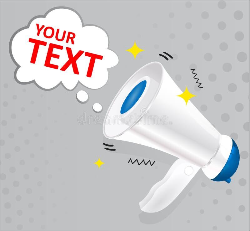 Megafone azul e branco com a bolha do discurso isolada no fundo cinzento Media sociais que introduzem no mercado o conceito ilustração stock