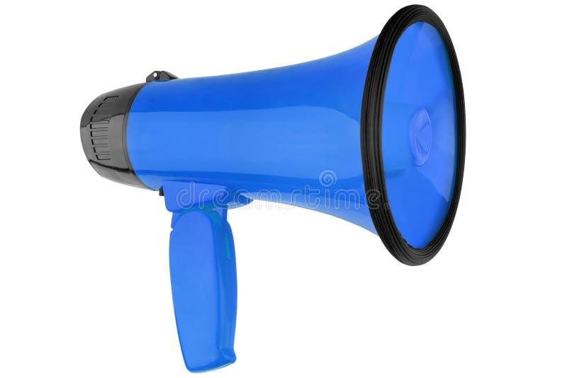 Megafone azul fundo branco no close up isolado, no projeto do altifalante da mão, no megafone ou na ilustração da trombeta de dis fotos de stock
