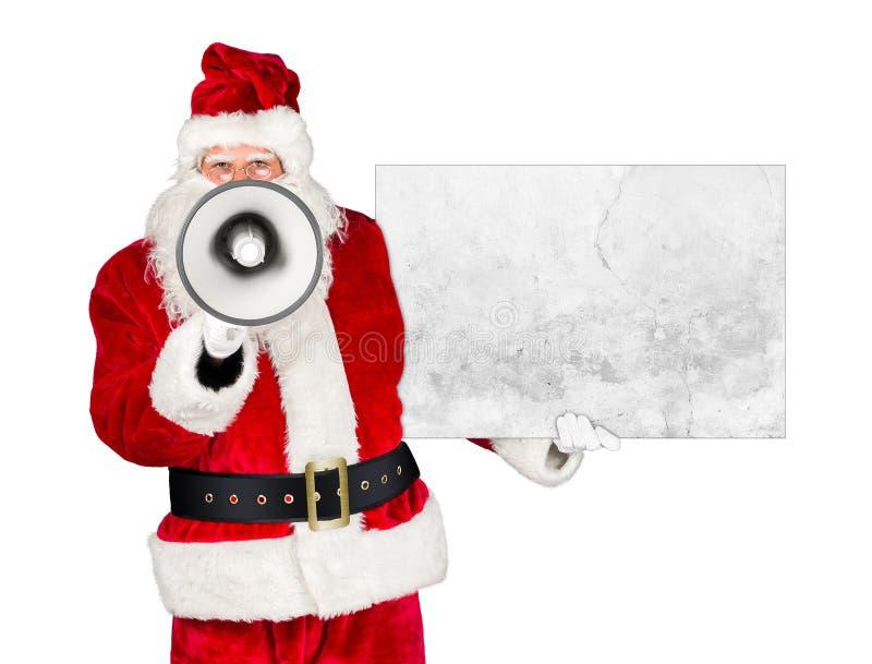 Megafone branco vermelho clássico tradicional de Papai Noel fotografia de stock
