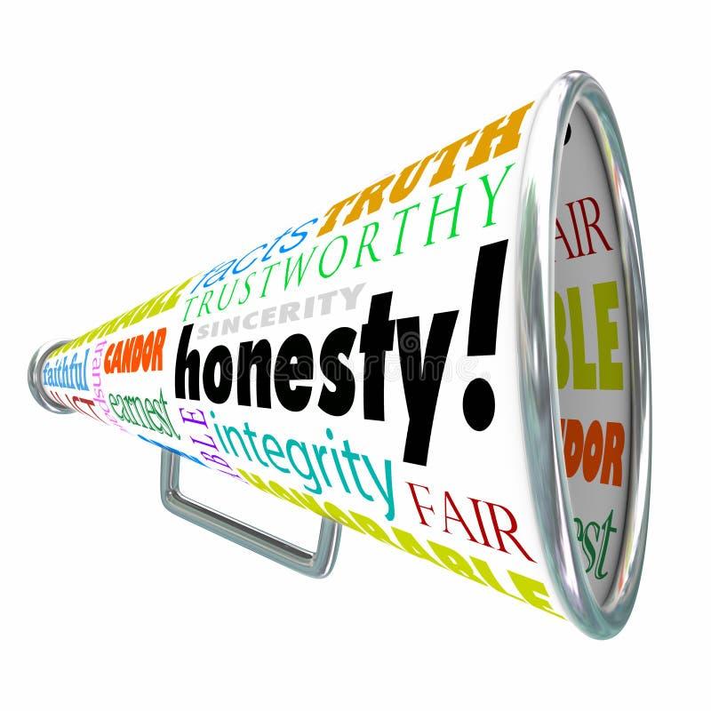 Megafone Bullhor da reputação das virtudes da integridade da sinceridade da honestidade ilustração do vetor