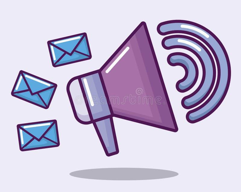 Megafone com correios dos envelopes ilustração stock